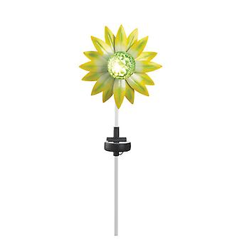 Summerfield Terrace Solar Lighted Garden Stake - Green and Yellow Flower, Pack of 1