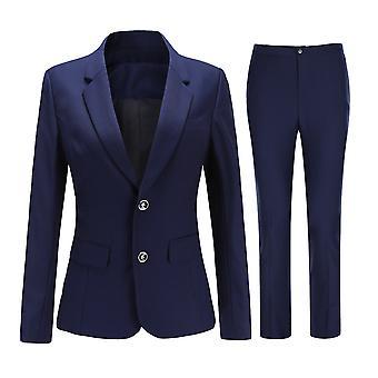 Mile Naisten Klassinen Solid Color Suit Business Casual Slim Suit (top & Pants) 4 väriä