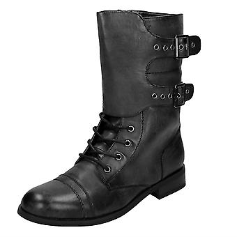 Ladies Coco Mid Heel Calf Lace Up Boot with Two Buckle Straps