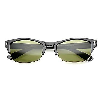 Bocina clásica montura gafas de sol Half Frame lente de rectángulo 53mm