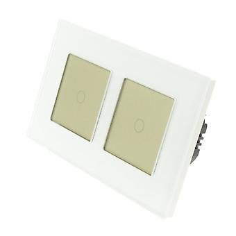 I LumoS White Glass Double Frame 2 Gang 1 Way Remote Touch LED Light Switch Gold Insert