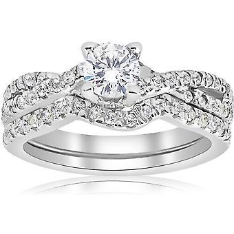 ct 1 infinito compromiso boda Set 14K oro blanco