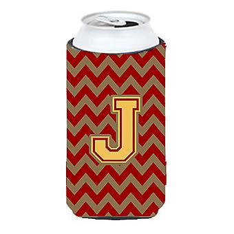 Letter J Chevron Garnet and Gold  Tall Boy Beverage Insulator Hugger