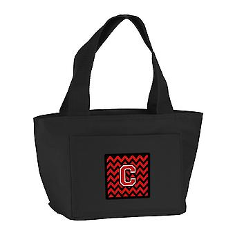Carolines Treasures  CJ1047-CBK-8808 Letter C Chevron Black and Red   Lunch Bag