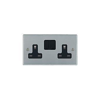 Hamilton Litestat Hartland Brushed Satin Chrome Socket 2G 13A DP Switched
