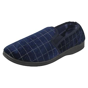 Mens Spot On Check Casual Slippers - Navy Textile - UK Size 10 - EU Size 44 - US Size 11