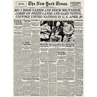 Yalta Konferenz 1945 Nfront Seite der New York Zeiten, 13. Februar 1945 Berichterstattung über die Konferenz von Jalta gegen Ende des zweiten Weltkriegs In Europa Poster Print von Granger Collection