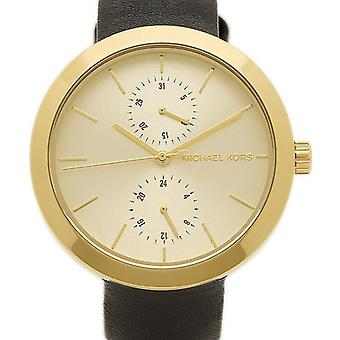Michael Kors Thin Garner Ladies Wrist Watch Gold Dial Black Strap MK2574