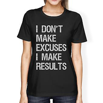 Excuses Results Womens Black Workout Fitness T-Shirt For Gym Gifts