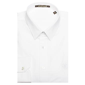 Roberto Cavalli Men's Point Collar Polka Dot Cotton Dress Shirt White