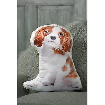 Adorable blenheim cavalier king charles spaniel shaped cushion