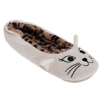 Slumberzzz Womens/Ladies Cat Ballerina Slippers