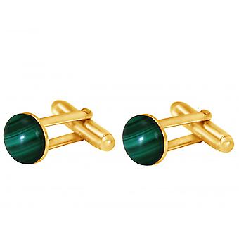 Gemshine Cufflinks الذهب مطلي Malachite الأخضر 10 مم