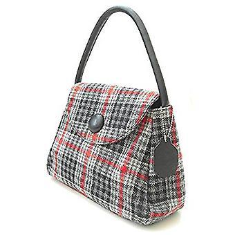 Harris Tweed or Tartan Handbag S (Gray and Red Tartan)