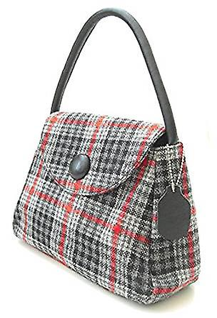 Harris Tweed or Tartan Handbag S (Gray and Red Tartan)