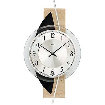 Wall clock quartz analog modern wooden Sonoma design with slate and glass 42 x 23 cm