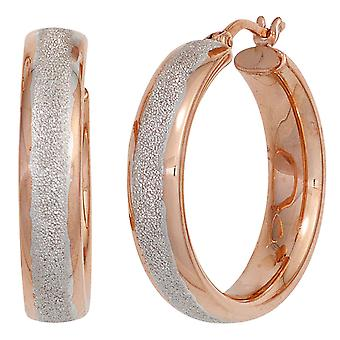 Hoops around 925 sterling silver red gold glitter earrings