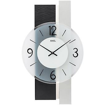 Wall clock quartz analog silver modern with slate and glass