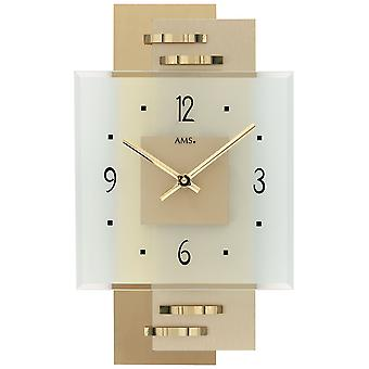 Wall clock quartz analog modern AMS 9241 with brass application