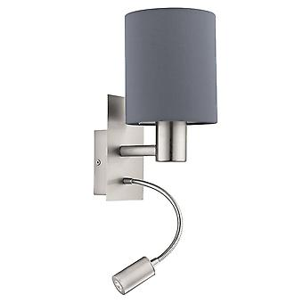 Eglo Pasteri Bedside LED Wall Reading Lamp With Grey Shade