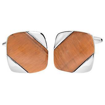 David Van Hagen brillant carré Diagonal Tiger Eye Stripe Cufflinks - brun/argent