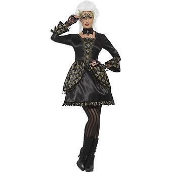 De Smiffy Deluxe Masquerade kostuum, zwarte & goud, met jurk