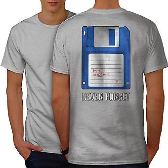Computadora retro Geek hombres GreyT camisa espalda | Wellcoda