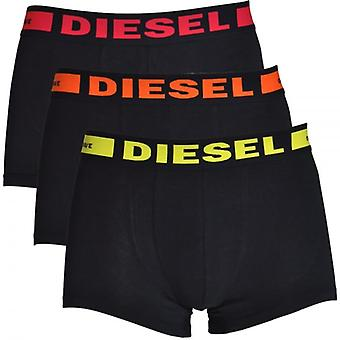 DIESEL 3-Pack Boxer Trunk UMBX-Kory, Black With Orange / Red / Yellow, Small