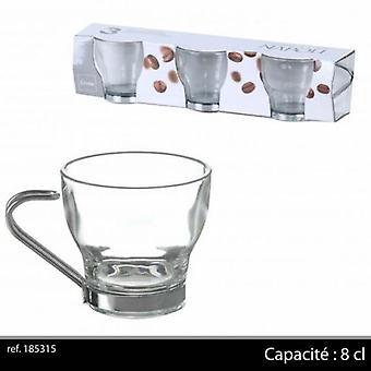 Pachet de 3 Mini espresso cesti de cafea cu mâner metalic 8cl