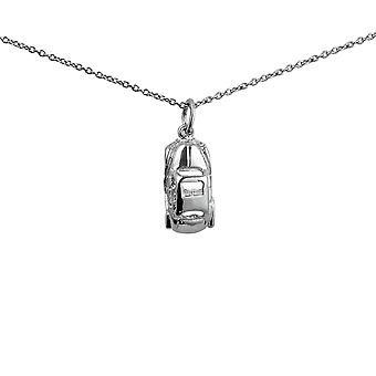 Silver 8x29mm Car Pendant with a 1mm wide rolo Chain 24 inches