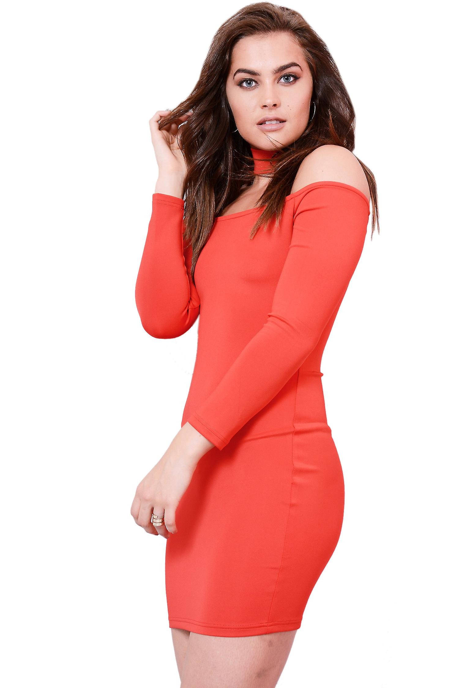 Lovemystyle Red Long Sleeve Bodycon Dress With Choker