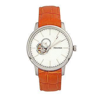 Heritor Automatic Landon Semi-Skeleton Leather-Band Watch - Silver/Orange