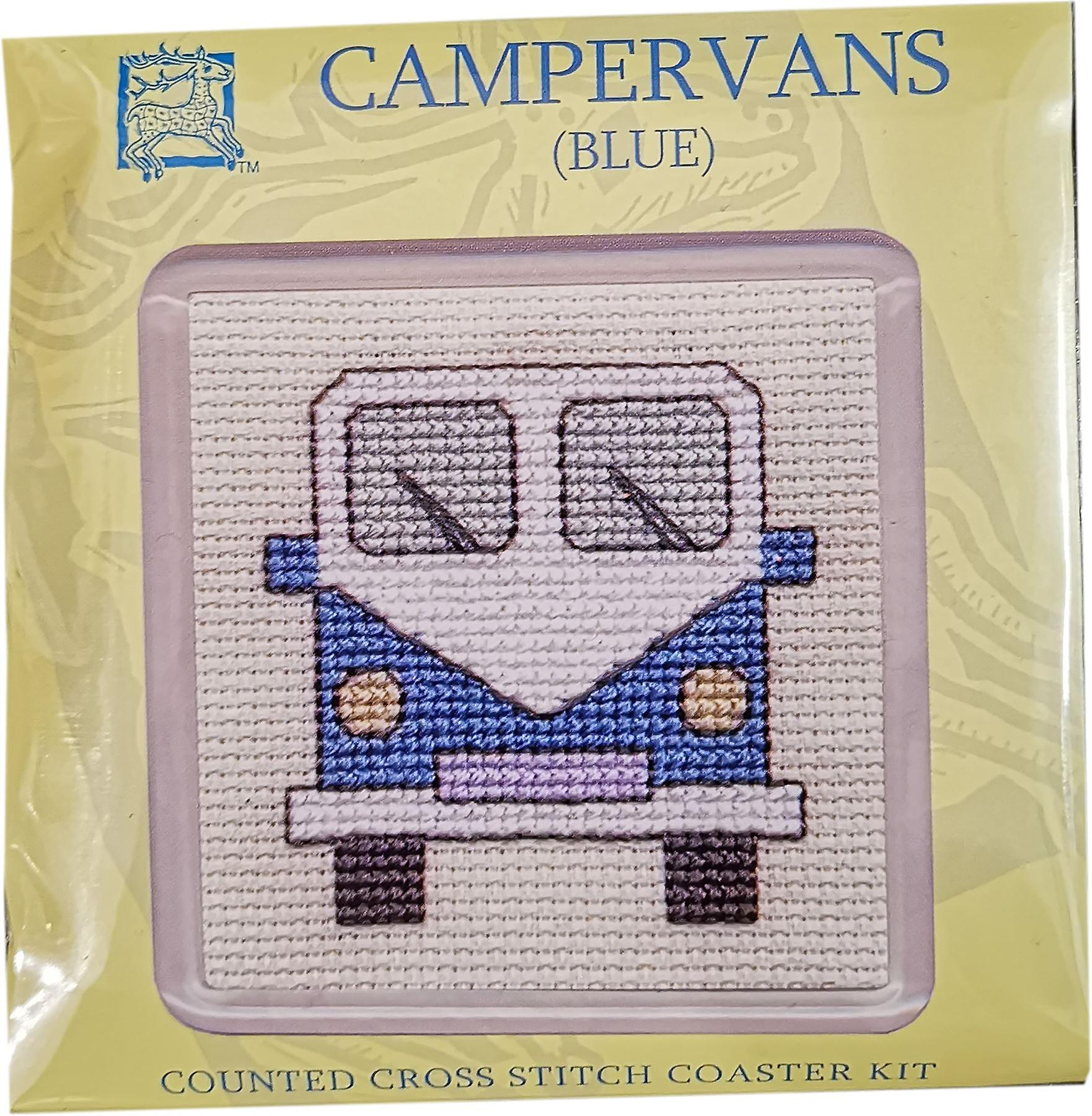Textile Heritage Counted Cross Stitch Campervan Coaster Blue