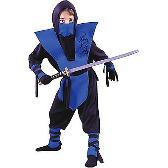 Blå pojkar Ninja soldat kostym