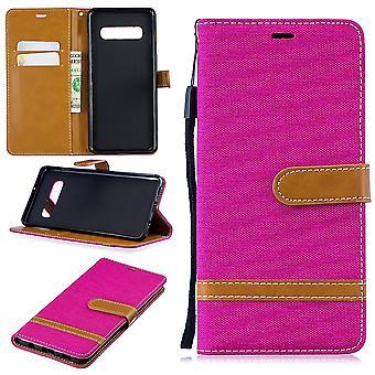 Samsung Galaxy S10 plus pochette téléphone portable affaire sac protecteur housse Etui compartiment poche rose