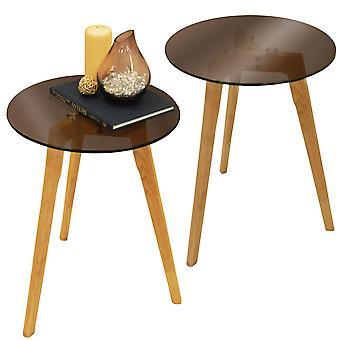 Luna - Doppelpack - Retro-stabiles Holz Stativbein und Runde Glas Ende / Beistelltisch - Natural / getönt