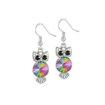 Eternal Collection Ozzy The Owl Rivoli Crystal Silver Tone Drop Pierced Earrings