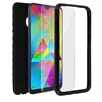 Back and front silicone case + Tempered glass film for Galaxy M20 - Black