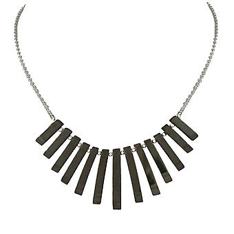 Eternal Collection Idaho Hematite Graduated Fan Sterling Silver Necklace