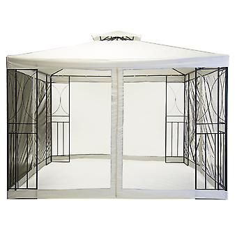 Charles Bentley 3m x 3m Acero Arte Crema Gazebo Party Tent con Pantalla Fly