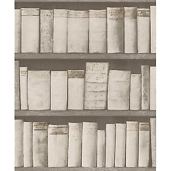 Rasch Book Shelf Pattern Wallpaper Wood Library Case Vintage Réaliste 930511