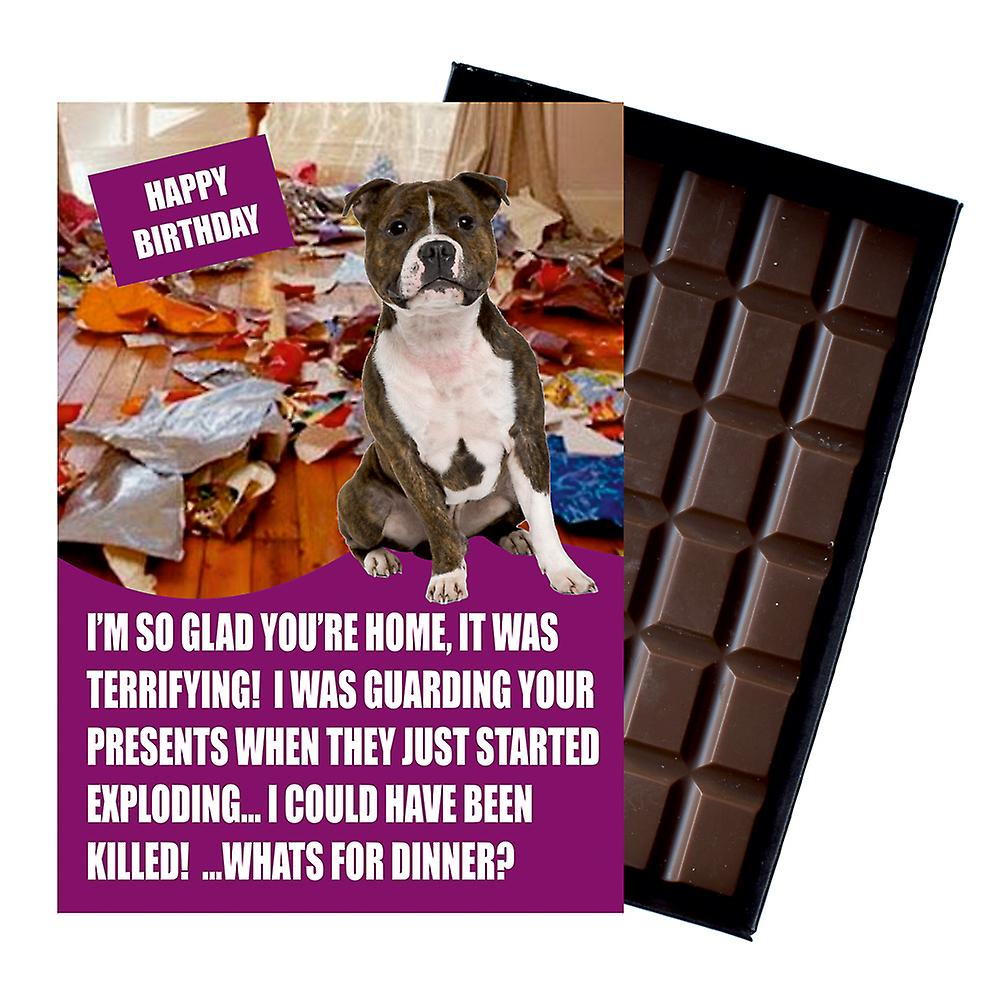 Staffordshire Bull Terrier Funny Birthday Gifts For Dog Lover Boxed Chocolate Greeting Card Present