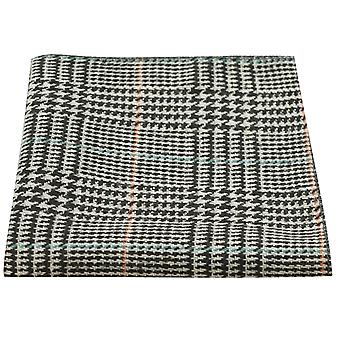 Black & White Dogtooth Check Tweed Pocket Square, Handkerchief