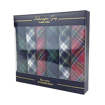 6 pack mens/Gentlemens tartan zakdoeken, 100% katoen in een doos van de gift