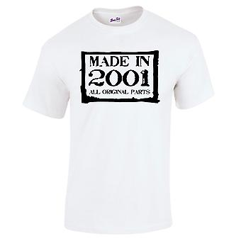 Men's 18th Birthday T-Shirt Made In 2001 Novelty Prezenty dla niego