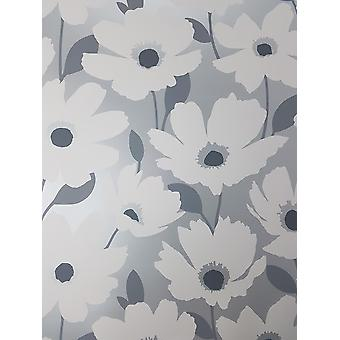 Fijn decor Mia Floral Wallpaper Zilver Blauw Geel Roze Metallic Flower Glinsteren
