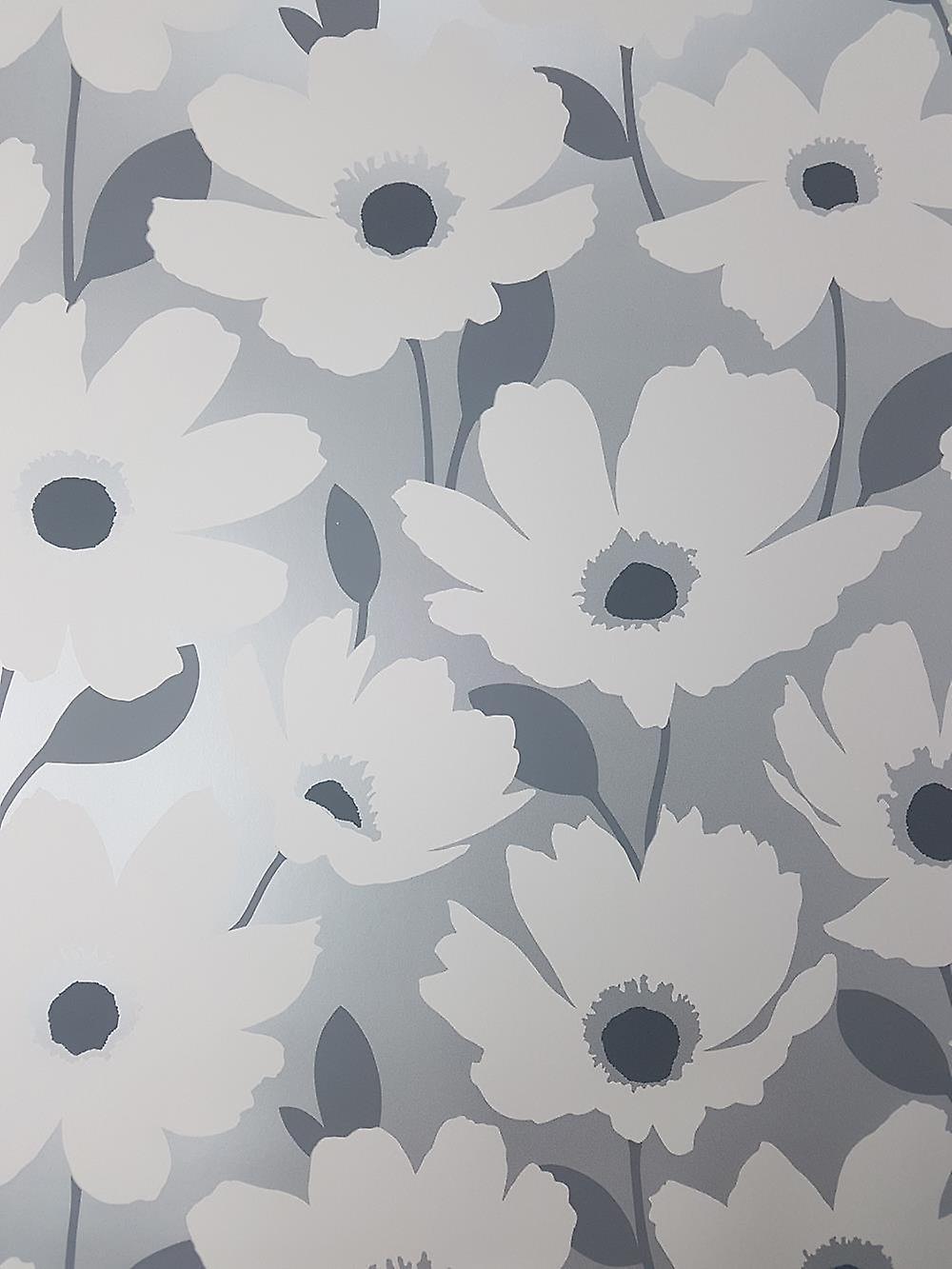 Fine Decor Mia Floral Wallpaper Silver Grey White Metallic Flowers