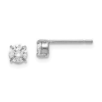 14k Branco Ouro Polido Brincos post cz Zircônia Cuba Simulado Garanhão diamante 4.0mm Brincos Joias Para Mulheres