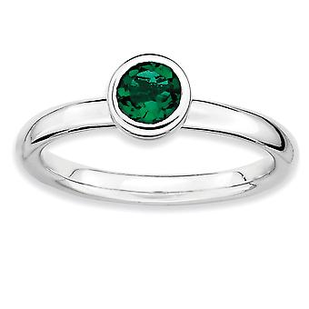 925 Sterling Silver Bezel Polido Rhodium plated Stackable Expressions Low 5mm Round Cr. Emerald Ring Jewely Gifts for