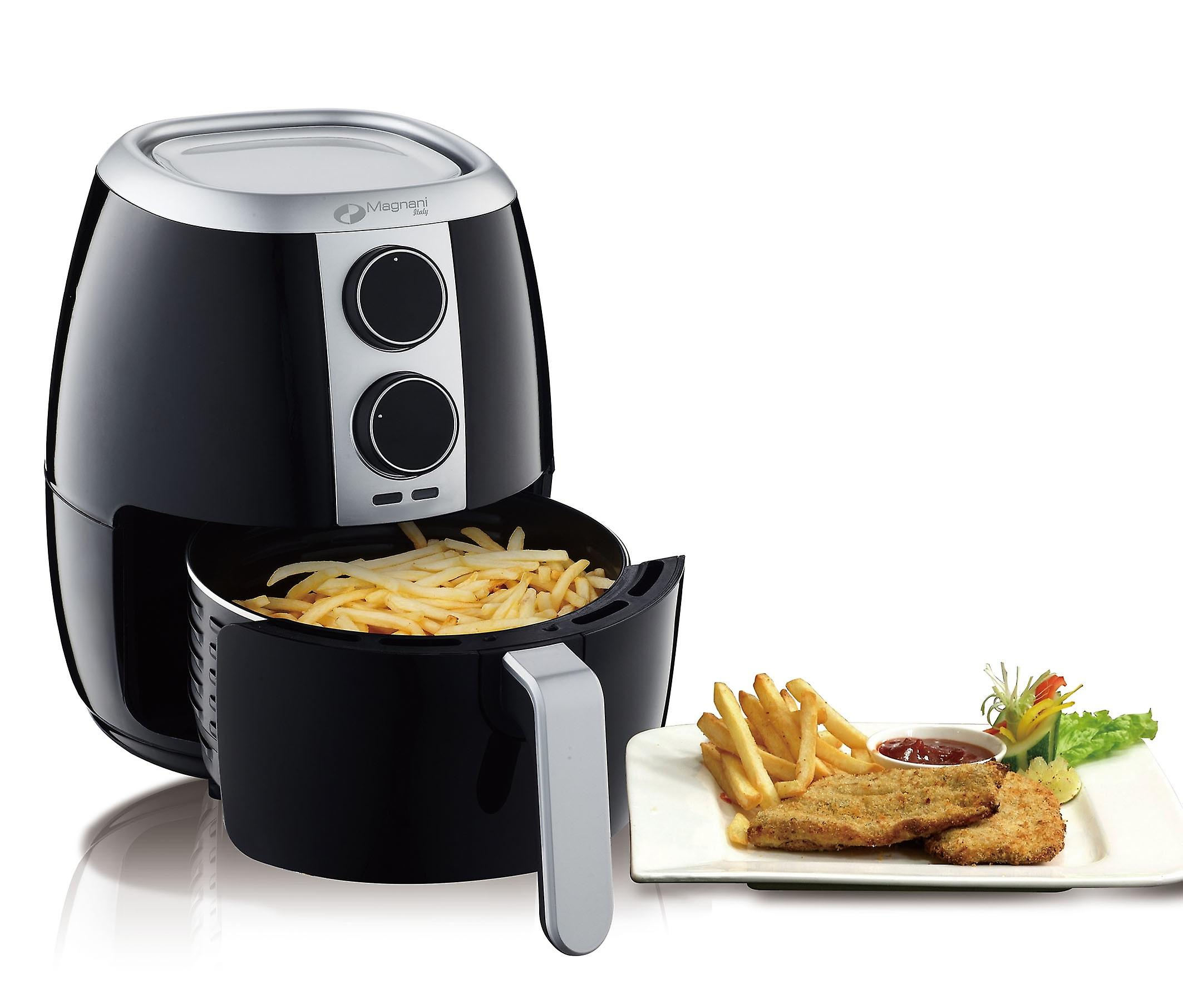 MAGNANI Hot air fryer XL with 3.5 l non-stick coated frying basket, Airfryer fryer for baking, deep-frying, grilling and frying without oil, 1350 W